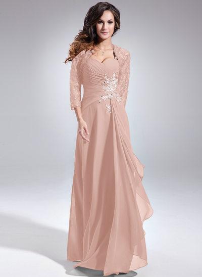 Forme Princesse Amoureux Longueur ras du sol Mousseline Robe de mère de la mariée avec Brodé Paillettes Robe à volants