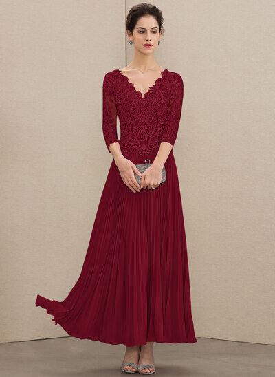 A-Linie V-Ausschnitt Knöchellang Chiffon Spitze Kleid für die Brautmutter mit Pailletten Gefaltet