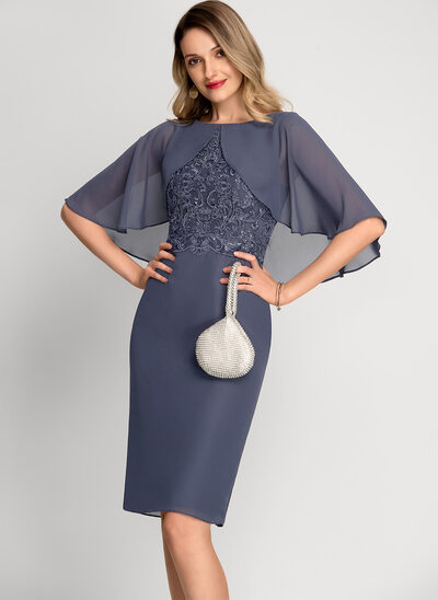 Sheath/Column Scoop Neck Knee-Length Chiffon Cocktail Dress With Sequins