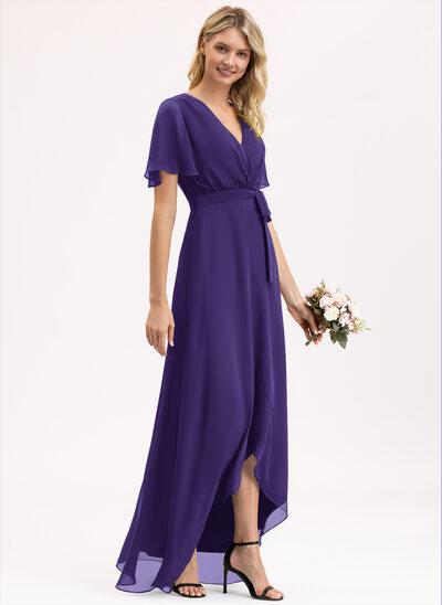 Трапеция V-образный асимметричный шифон Платье Подружки Невесты с Бант(ы)