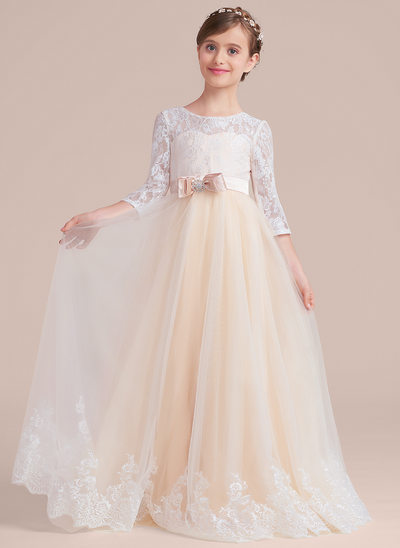 Scoop Neck Floor-Length Tulle Lace Junior Bridesmaid Dress With Sash Beading Bow(s)
