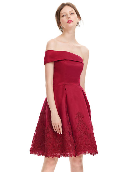 A-Line/Princess One-Shoulder Knee-Length Satin Cocktail Dress