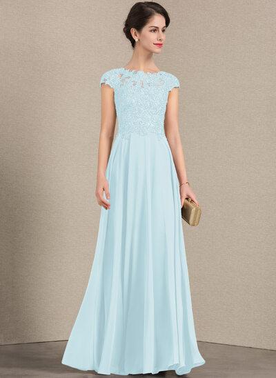 Vestidos princesa/ Formato A Decote redondo Longos Tecido de seda Renda Vestido para a mãe da noiva com Beading