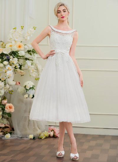 A-Linie/Princess-Linie Off-the-Schulter Wadenlang Tüll Lace Brautkleid mit Perlstickerei Schleife(n)