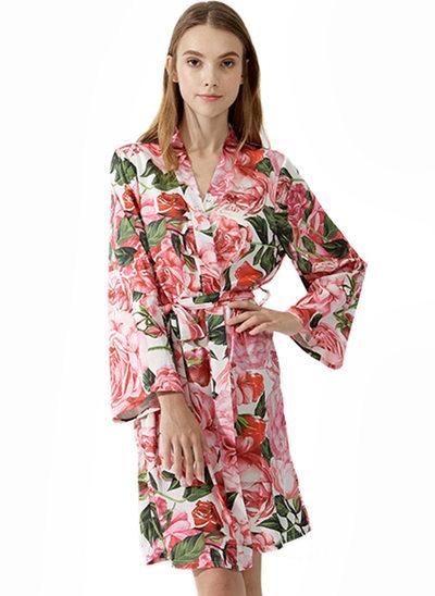 Braut Brautjungfern Satin mit Kurz Personalisierte Roben Kimono-Roben Bestickte Roben