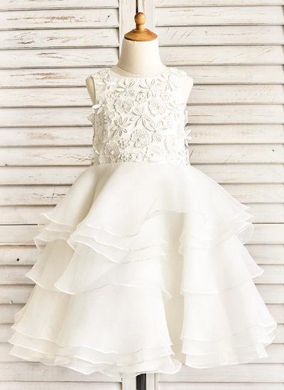 Vestidos princesa/ Formato A Comprimento médio Vestidos de Menina das Flores - Organza de Sem magas Decote redondo com Pregueado/Beading/Apliques de Renda