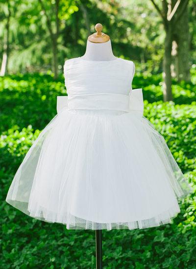 Empire Flower Girl Dress - Satin Sleeveless Scoop Neck With Bow(s)