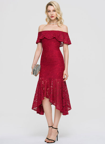 Trumpet/Mermaid Off-the-Shoulder Asymmetrical Lace Cocktail Dress With Cascading Ruffles