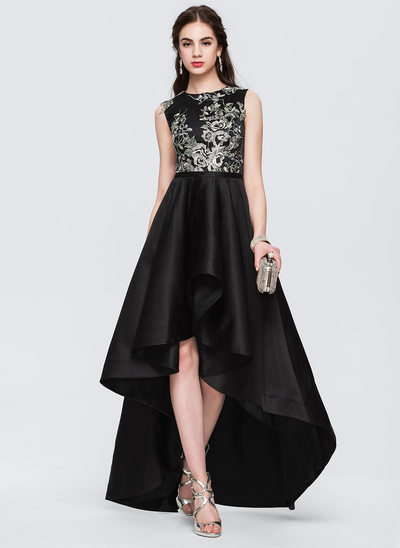 A-Line/Princess Scoop Neck Asymmetrical Satin Prom Dress With Lace