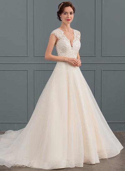 Balklänning V-ringning Court släp Organzapåse Bröllopsklänning