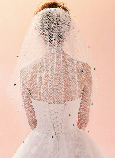 Dos capas Con Aplicación de encaje Velos de novia capilla con Encaje