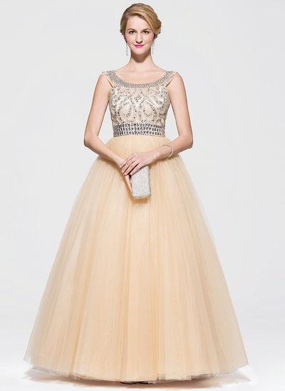Duchesse-Linie U-Ausschnitt Bodenlang Tüll Abiballkleid mit Perlen verziert Pailletten