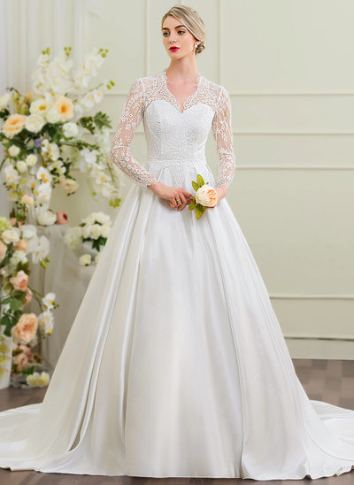 Платье для Балла V-образный Собор поезд Атлас Свадебные Платье