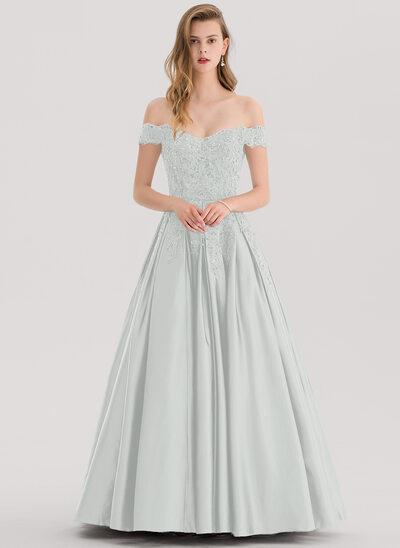 Платье для Балла/Принцесса Выкл-в-плечо Длина до пола Атлас Платье Для Выпускного Вечера с развальцовка блестки