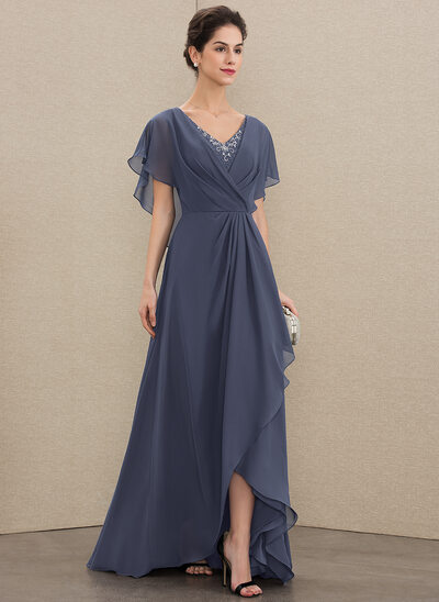 Corte A Decote V Assimétrico Tecido de seda Vestido de festa com Beading lantejoulas