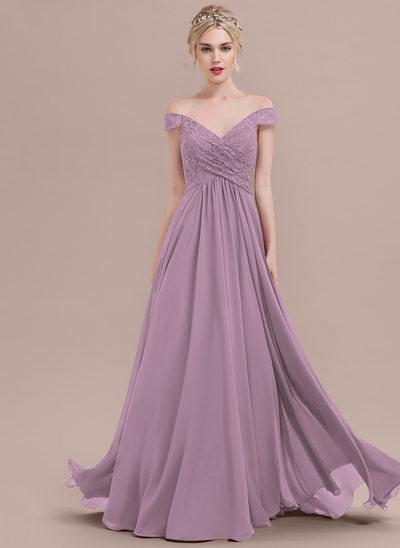 Vestidos princesa/ Formato A Off-the-ombro Longos Tecido de seda Renda Vestido de baile com Pregueado