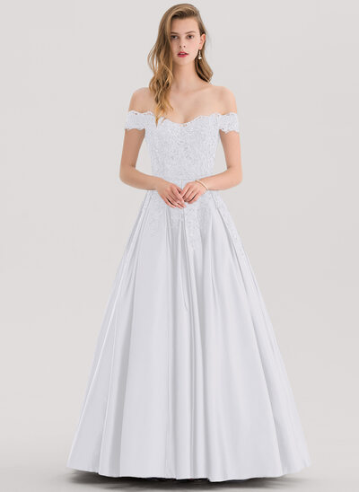 De Baile/Princess Off-the-ombro Longos Cetim Vestido de baile com Beading lantejoulas