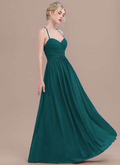 Vestidos princesa/ Formato A Amada Longos Tecido de seda Vestido de baile com Pregueado