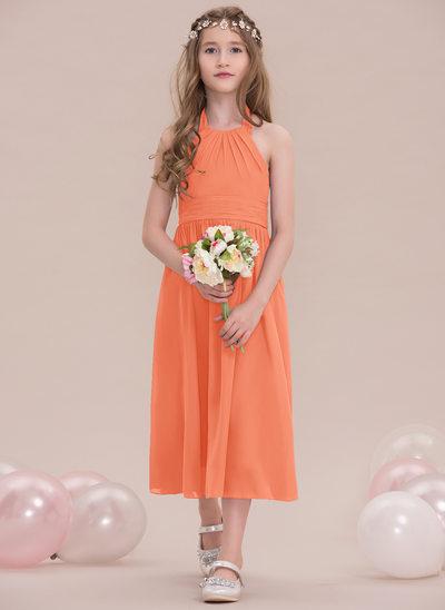 Vestidos princesa/ Formato A Cabresto Comprimento médio Tecido de seda Vestido de daminha júnior com Pregueado