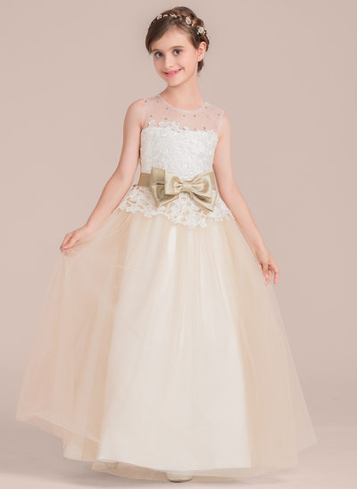 Ball Gown Floor-length Flower Girl Dress - Satin/Tulle/Lace Sleeveless Scoop Neck With Sash/Beading/Bow(s)