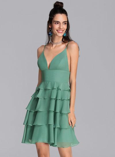 Трапеция V-образный Мини-платье шифон Платье для Встречи Выпускников с Ниспадающие оборки