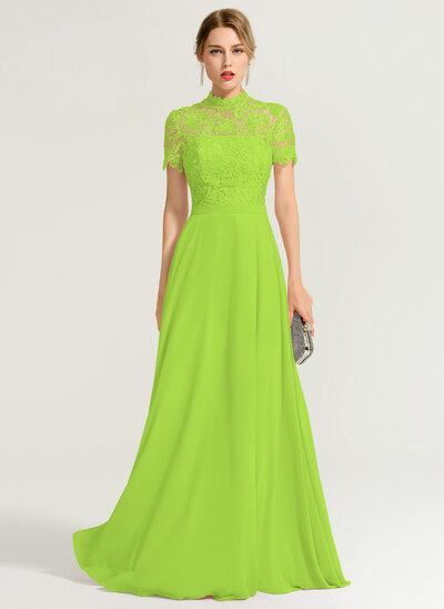 A-Line/Princess High Neck Floor-Length Chiffon Prom Dresses