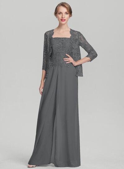 Rechteckiger Ausschnitt Bodenlang Chiffon Spitze Kleid für die Brautmutter