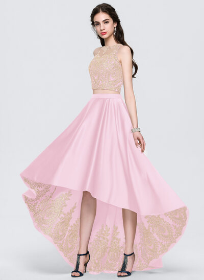 Corte A Escote redondo Asimétrico Satén Vestido de baile de promoción