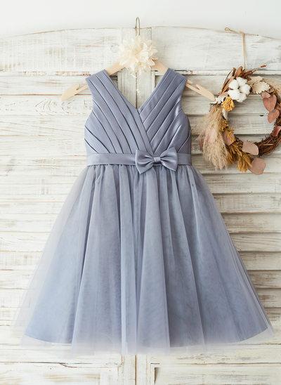 Forme Princesse Longueur genou Robes à Fleurs pour Filles - Satiné/Tulle Sans manches Col rond avec À ruban(s)/Fendue devant