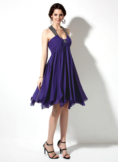 Empire Scoop Neck Knee-Length Chiffon Homecoming Dress With Ruffle Beading