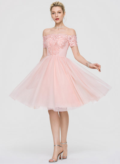 A-Line Off-the-Shoulder Knee-Length Tulle Cocktail Dress