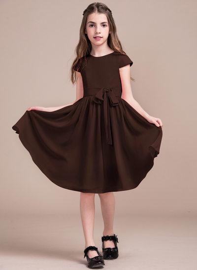 Vestidos princesa/ Formato A Decote redondo Coquetel Tecido de seda Vestido de daminha júnior com Curvado