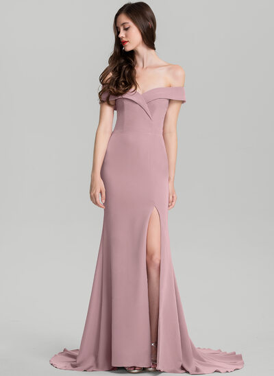 Sheath/Column Off-the-Shoulder Sweep Train Satin Prom Dress