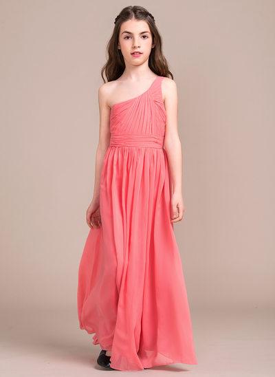 A-Line/Princess One-Shoulder Floor-Length Chiffon Junior Bridesmaid Dress With Ruffle