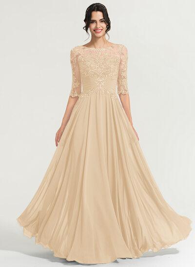 Corte A Decote redondo Longos Tecido de seda Vestido de baile com lantejoulas