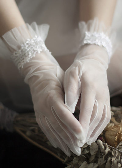 Tiul Krótkie eleganckie rękawiczki Rękawiczki Ślubne