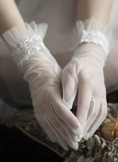 Tüll Handgelenk Länge Braut Handschuhe
