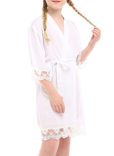 Flower Girl Polyester With Short Satin & Lace Robes Girl Robes