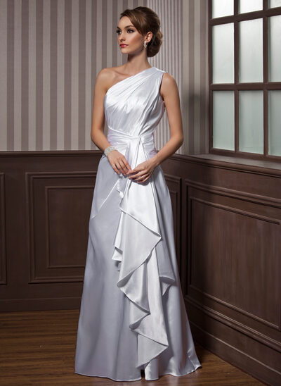 A-Line/Princess One-Shoulder Floor-Length Charmeuse Evening Dress With Cascading Ruffles