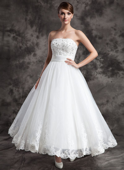 Ball-Gown Strapless Ankle-Length Satin Organza Wedding Dress With Lace Beading