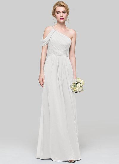 Vestidos princesa/ Formato A Um ombro Longos Tecido de seda Vestido de madrinha com Pregueado