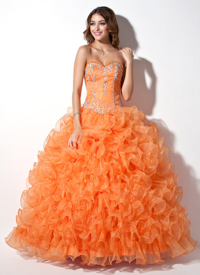 Ball-Gown Sweetheart Floor-Length Organza Quinceanera Dress With Beading Appliques Lace Sequins Cascading Ruffles