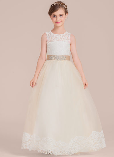 Ball Gown Floor-length - Satin/Tulle/Lace Sleeveless Scoop Neck With Sash/Beading