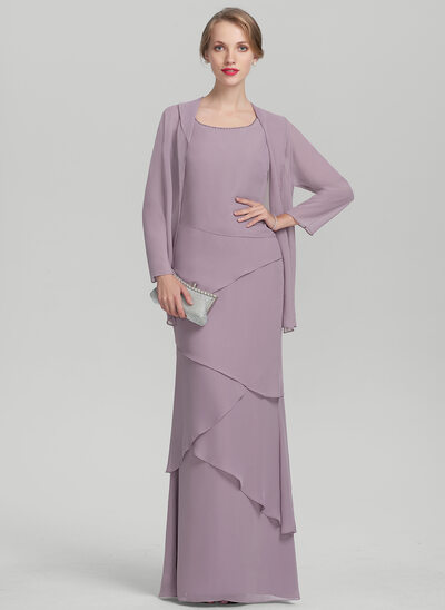 Sheath/Column Scoop Neck Floor-Length Chiffon Mother of the Bride Dress With Beading Cascading Ruffles