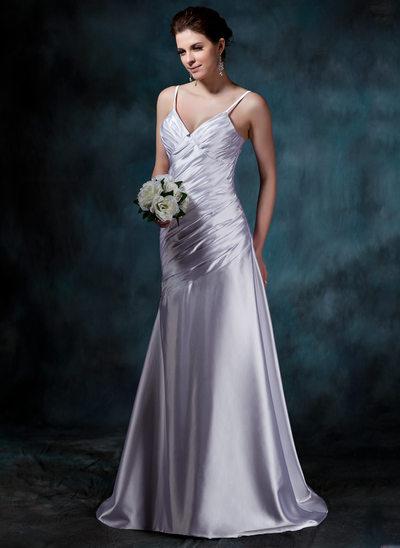 Forme Princesse Col V Traîne moyenne Charmeuse Robe de mariée avec Plissé