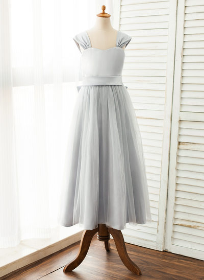 A-Line/Princess Ankle-length Flower Girl Dress - Satin/Tulle Sleeveless Scoop Neck With Sash