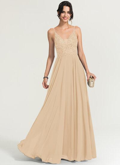 Corte A Decote V Longos Tecido de seda Vestido de baile com Beading