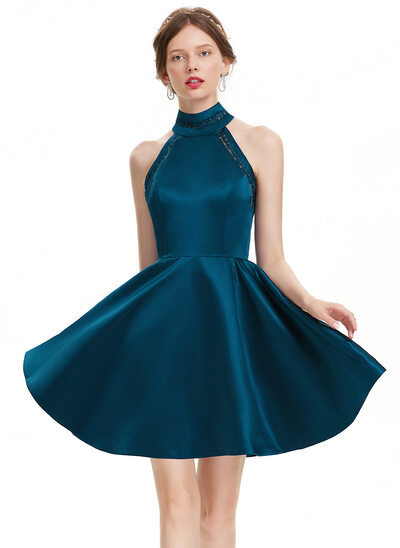 A-Linie/Princess-Linie High Neck Kurz/Mini Satin Cocktailkleid