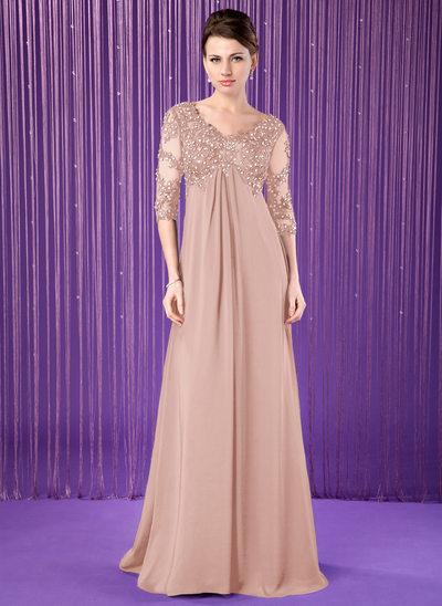 Empire-Linie V-Ausschnitt Sweep/Pinsel zug Chiffon Kleid für die Brautmutter mit Spitze Perlstickerei