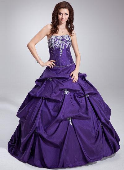 Duchesse-Linie Trägerlos Bodenlang Taft Quinceañera Kleid (Kleid für die Geburtstagsfeier) mit Rüschen Perlstickerei Applikationen Spitze Pailletten